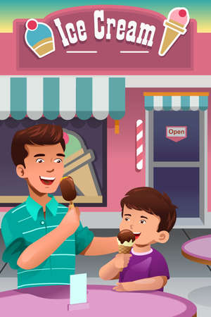 A illustration of father and son eating ice cream in front of an ice cream store