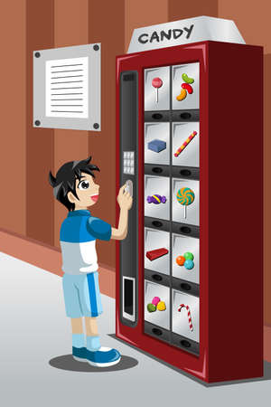vending: A illustration of kid buying candy from a vending machine