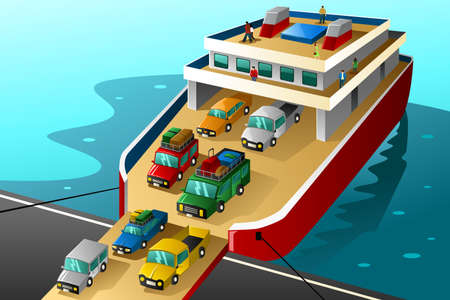 ferry: A illustration of cars in vacation going into a big ferry