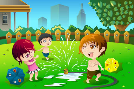 A illustration of children playing with sprinkler water in the summer