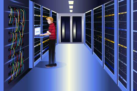 data center: A vector illustration of man working in a data center