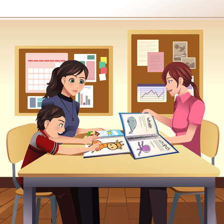 A vector illustration of parents and teacher meeting discussing in the classroom