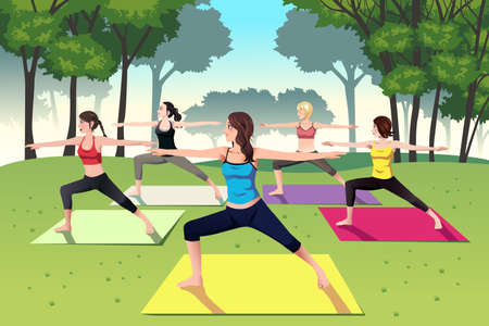 A vector illustration of group of women doing yoga in the park