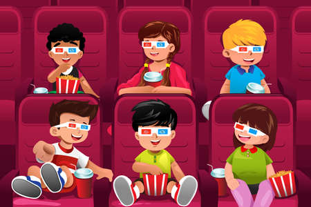 watching movie: A vector illustration of happy kids going to a movie together