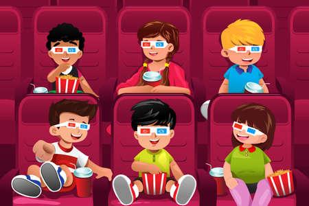 teatro: Una ilustraci�n vectorial de ni�os felices de ir a ver una pel�cula juntos