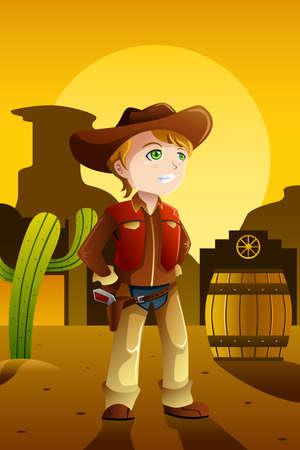 Een vector illustratie van de jongen verkleed als een cowboy in het oude West-instelling