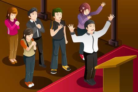 mujeres orando: Una ilustración del vector de la gente que tiene una oración en grupo