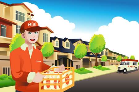 Illustratie van melk levering man leveren om een huis