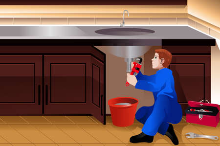 plumber tools: Illustration of plumber fixing a leaky faucet Illustration