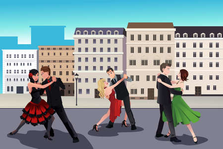 Illustration of people dancing tango in front of a European style buildings