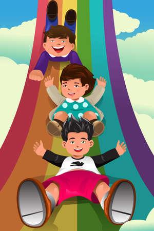 rainbow slide:  illustration of cute children sliding down the rainbow