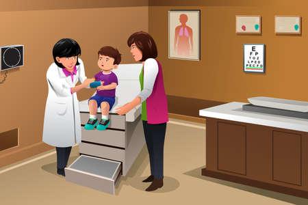 genitore figlio: illustrazione del ragazzo con un cast sul suo braccio in ufficio medico