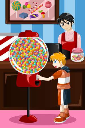 distribution automatique: illustration de gosse acheter des bonbons � partir d'un distributeur automatique