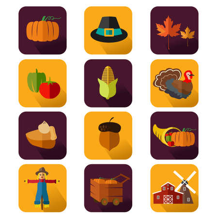 A vector illustration of thanksgiving icon sets Vector