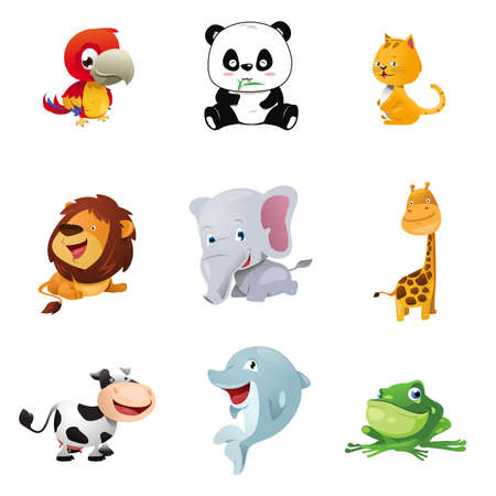 A vector illustration of cute animal icons Illustration
