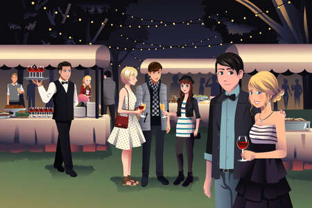 A vector illustration of young stylish people having a night party outdoor