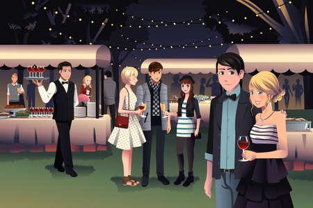 Een vector illustratie van jonge stijlvolle mensen die een nacht partij buiten