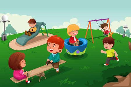 행복한 아이들의 벡터 일러스트 레이 션 공원에서 말뚝을 둘러 박기 일러스트