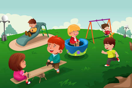 A vector illustration of happy kids paling in the park