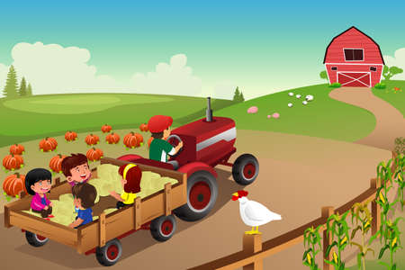 Una illustrazione vettoriale di bambini in un hayride in una fattoria durante la stagione autunno