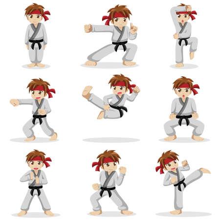 niños: Una ilustración vectorial de diferentes poses de karate kid