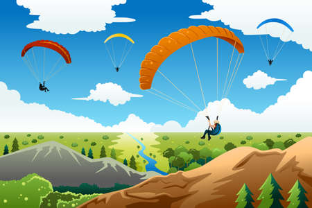 A vector illustration of people paragliding with a beautiful view under