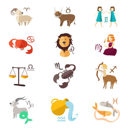 A vector illustration of zodiac sign icons design