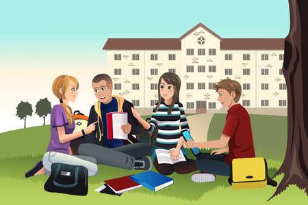 amigo: Una ilustraci�n vectorial de estudiantes universitarios que estudian al aire libre en la hierba Vectores