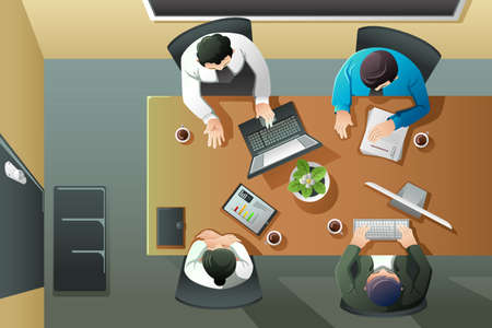 A vector illustration of overhead view of business meeting