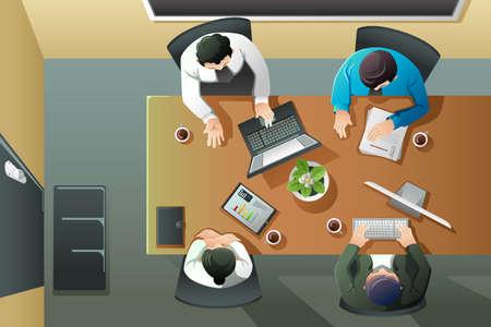 Een vector illustratie van bovenaanzicht van zakelijke bijeenkomst