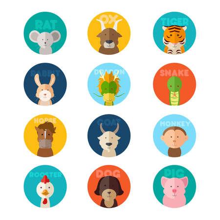 中国の黄道帯動物アイコンのベクトル イラスト