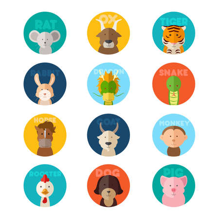 A vector illustration of Chinese zodiac animal icons Çizim