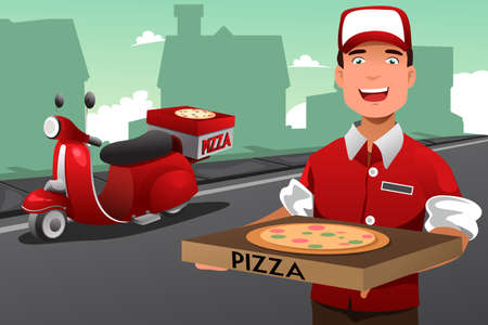 A vector illustration of man delivering pizza