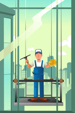 dangerous work: A vector illustration of windows cleaner of high rise buildings