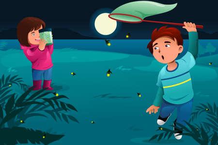 Una ilustración vectorial de niños felices atrapar luciérnagas y los puso en un frasco