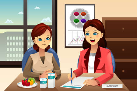 advice: A vector illustration of nutritionist explaining about diet to an overweight woman