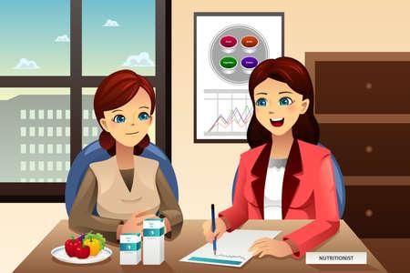 Une illustration de vecteur d'un nutritionniste expliquer sur l'alimentation à une femme en surpoids