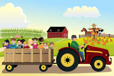 A vector illustration of kids going on a hayride in a farm with corn fields in the background Vectores