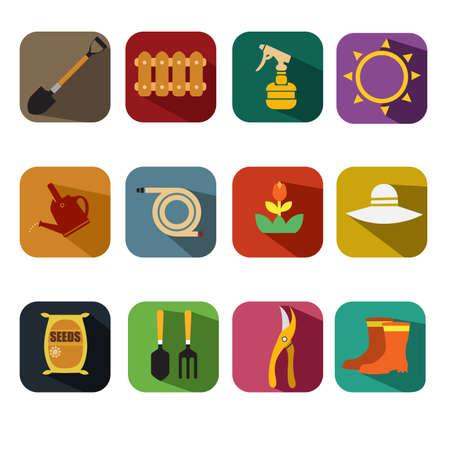 gardening hose: A vector illustration of gardening icon sets