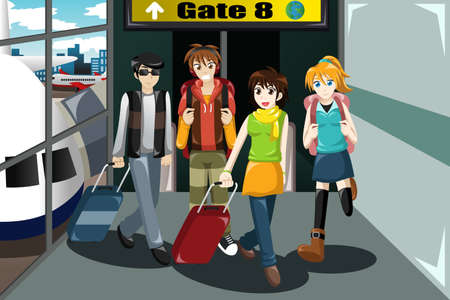airport cartoon: A vector illustration of group of young people  traveling together in the airport