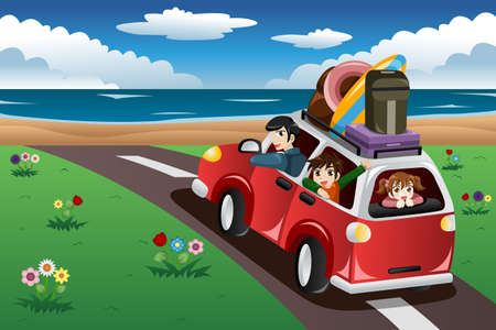 A vector illustration of happy family going on a beach vacation together Çizim