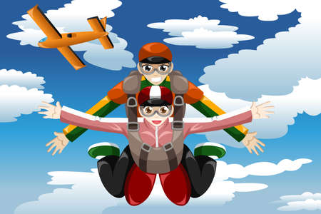 A vector illustration of people doing tandem skydiving Illustration
