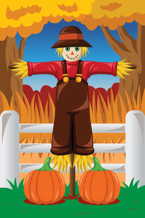 A vector illustration of Scarecrow in the Fall season Vector