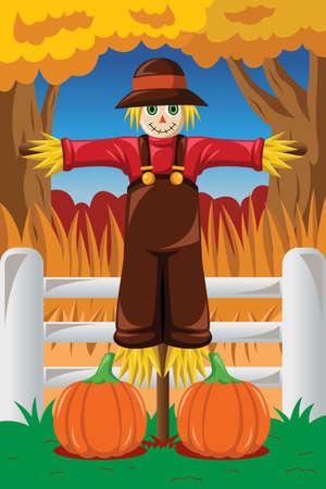 Ilustracji wektorowych z Scarecrow w sezonie jesień
