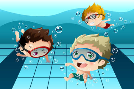 Una ilustración vectorial de niños felices que se divierten en la piscina Vectores