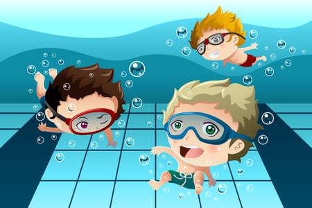 ni�os nadando: Una ilustraci�n vectorial de ni�os felices que se divierten en la piscina Vectores