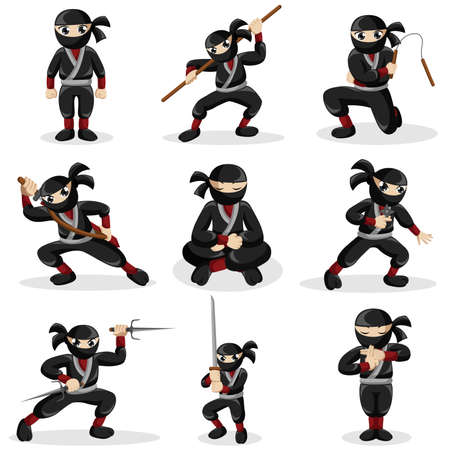 A vector illustration of ninja kids in different poses