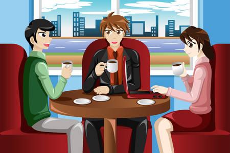 Een vector illustratie van de mensen uit het bedrijfsleven bijeen in het cafe