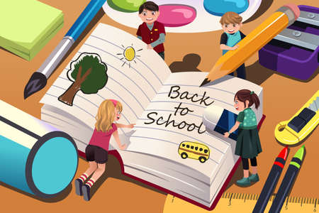 elementary students: A vector illustration of back to school background with copyspace Illustration