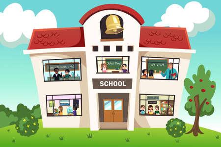 escuela caricatura: Una ilustración vectorial de la actividad escolar